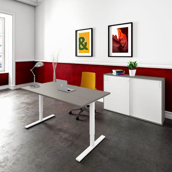 ONE H Schreibtisch | Manuell höhenverstellbar, 1400 x 800 mm, Cubanitgrau
