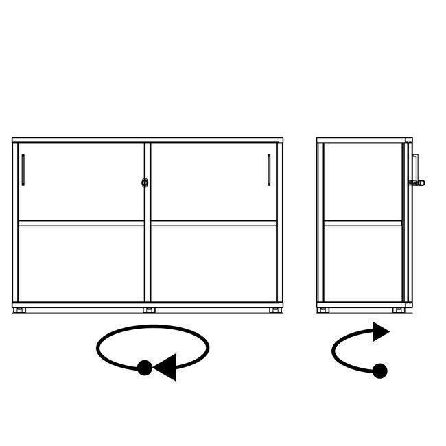 UNI Schiebetürenschrank   2 OH, 1200 x 777 mm, Bernsteineiche
