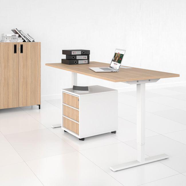 ONE H Schreibtisch   Manuell höhenverstellbar, 1600 x 700 mm, Bernsteineiche
